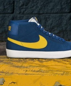 Nike Blazer SB Premium SE in Blue Force and University Gold