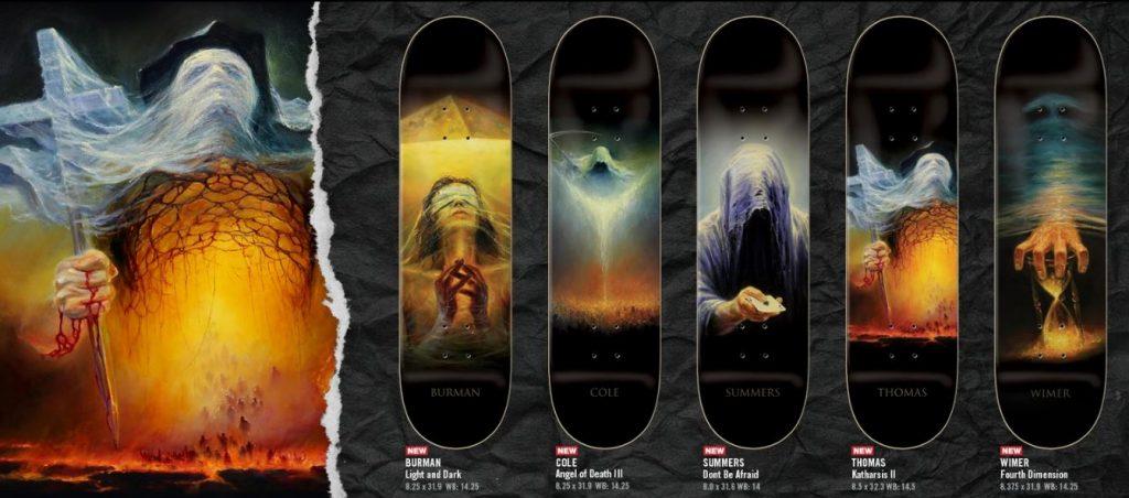 "Kolekcja 5 pro modeli ZERO Skateboards: ""Light and Dark"" (Dane Burman), ""Angel of Death III"" (Chris Cole), ""Don't be afraid"" (Gabriel Summers), ""Katharsis II"" (Jamie Thomas), ""Four Dimension"" (Chris Wimer)"